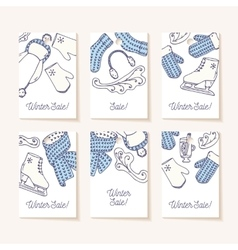 Set of sale tags Hand drawn winter knitted vector image