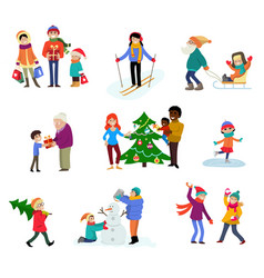 winter holiday cartoon family characters vector image