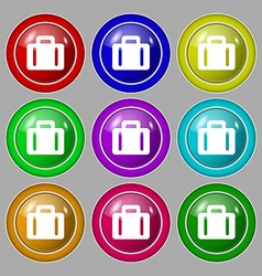 suitcase icon sign symbol on nine round colourful vector image