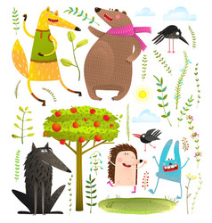 wild funny forest objects and animals set vector image