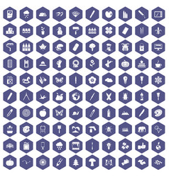 100 eco design icons hexagon purple vector