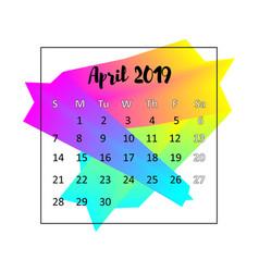 2019 calendar design concept april 2019 vector image
