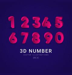 3 d number label template design vector