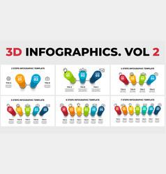 3d perspective infographics pack progress vector image
