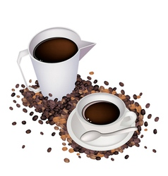 A Delicious Hot Coffee with Measure Cup vector image