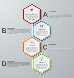 Abstract 3D hexagon business options infographics vector image vector image