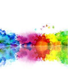 Abstract watercolor fantastic landscape vector