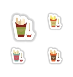 Assembly paper stickers on white fries and ketchup vector