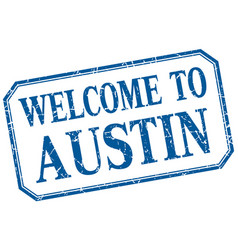 Austin - welcome blue vintage isolated label vector