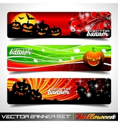 Banner set on a halloween theme vector