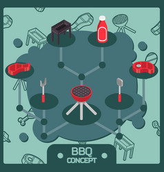 Bbq color isometric concept icons vector