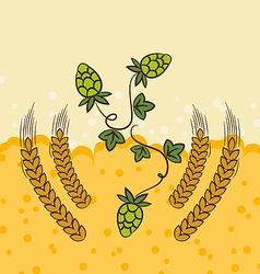 Beer background with hop leaves and wheats vector