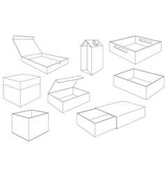 boxes outline drawings collection of packages vector image vector image
