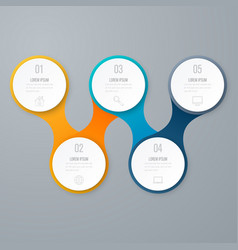 business infographics timeline with 5 circles vector image