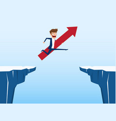 businessman with red arrow sign jump through the vector image