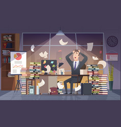 Busy businessman office manager hard work vector