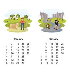 Calendar 2018 january february vector