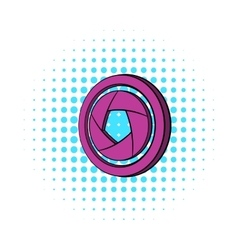 Camera aperture icon comics style vector