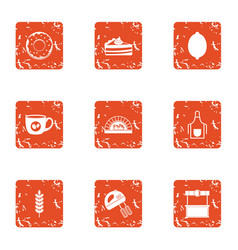 Carbohydrate icons set grunge style vector