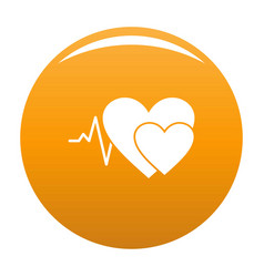 Cardiology icon orange vector