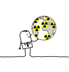 cartoon businessman nuclear world vector image