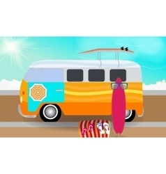 Cartoon van with surfboards standing in the road vector image