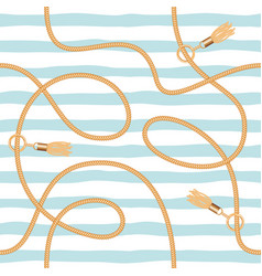 Chains tassels and ropes marine seamless pattern vector