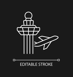 Changi airport control tower white linear icon vector