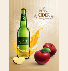 cider realistic composition vector image