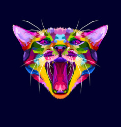 colorful angry cat head cat growls angry cat vector image