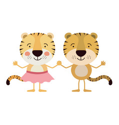 Colorful caricature with couple of tigers holding vector