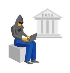 computer hacker with laptop bank building behind vector image