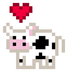 Cute pixel cow with a heart over its head vector