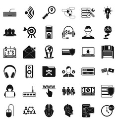 cyber protection icons set simple style vector image