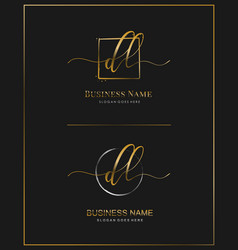 D l dl initial handwriting logo letter vector