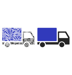 delivery lorry composition of repair tools vector image