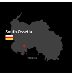 Detailed map of South Ossetia and capital city vector image