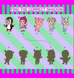 Find correct shadow cartoon children wearing vector