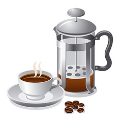 french press with coffee vector image