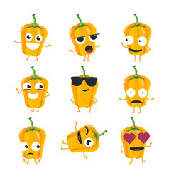 Funny yellow pepper - isolated cartoon vector