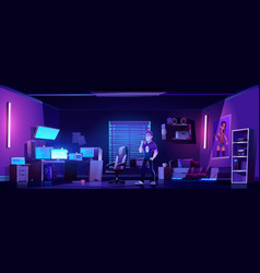 Gamer bedroom with computers at night vector