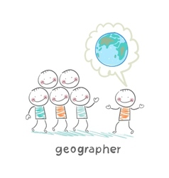 geographer tells people about the planet vector image