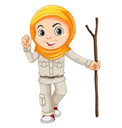 Girl in camping suit with walking stick vector