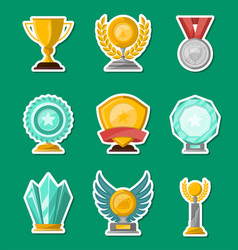 Golden and glassy trophy cups and awards set vector