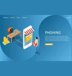 Hacker phishing landing page website vector