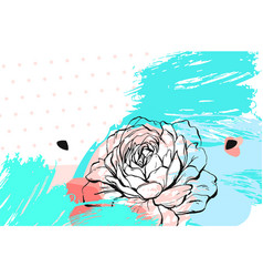 hand drawn abstract floral collage header vector image