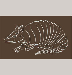 Hand drawn art with white armadillo silhouette vector