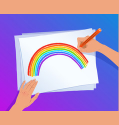 hands drawing rainbow arc vector image