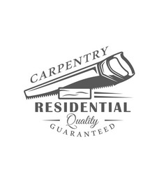 Handsaw modern carpentry label vector