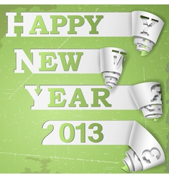 Happy New Year curled strips on grunge paper vector image